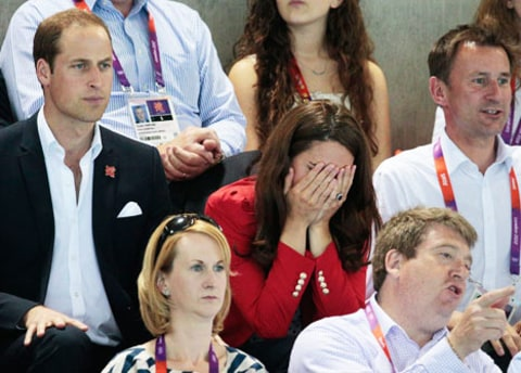 Kate Middleton covering eyes at olympics
