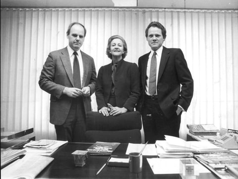 Graham with Newsweek editor Maynard Parker (left) and William Boyles, the magazine's editor-in-chief, in Graham's office in 1983.