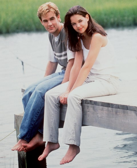 James Van Der Beek and Katie Holmes star in 'Dawson's Creek' in 1998.
