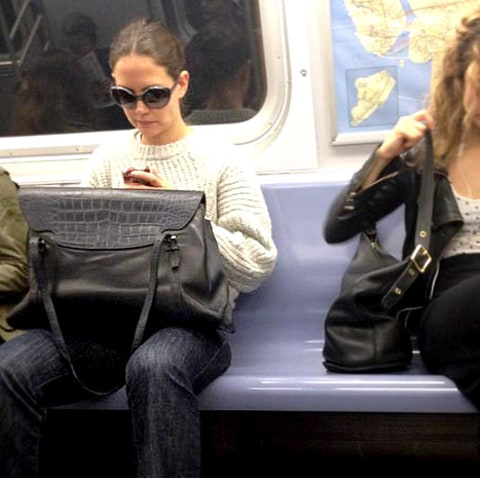Katie Holmes on the Subway