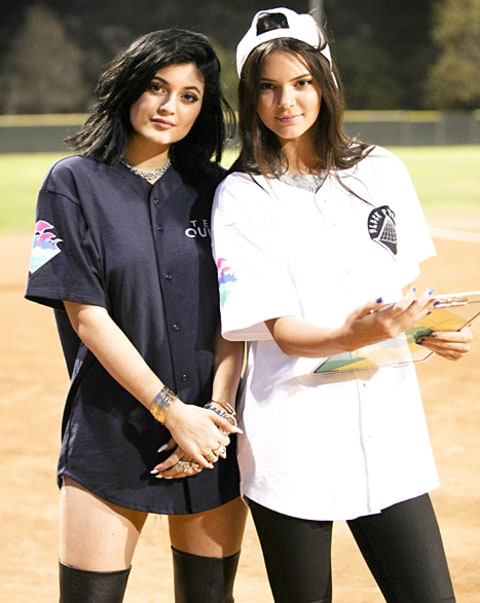 kendall and kylie at charity kickball event