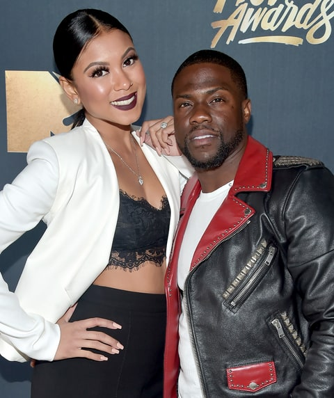 Eniko Parrish and Kevin Hart attend the 2016 MTV Movie Awards.