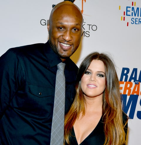 Lamar Odom and Khloe Kardashian arrive at the 19th Annual Race to Erase MS in 2012.