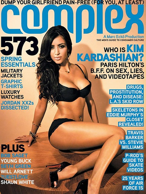 Kim Kardashian on the cover of Complex in 2007