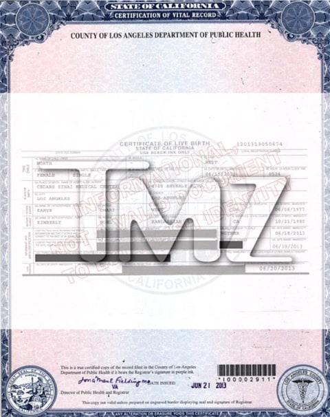 Celebrity Baby Birth Certificates | Photo 2 | TMZ.com