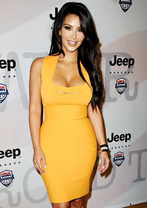 kim kardashian orange dress