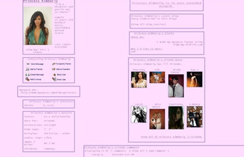 Kim Kardashian old Myspace profile