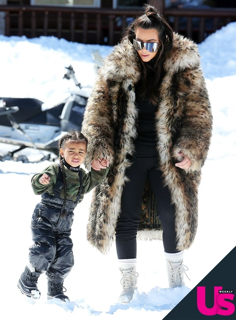 Kim Kardashian and North West in Vail, CO, on April 6, 2016.