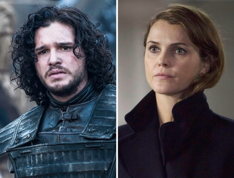 Kit Harington as Jon Snow in 'Game of Thrones' and Keri Russell as Elizabeth Jennings in 'The Americans.'