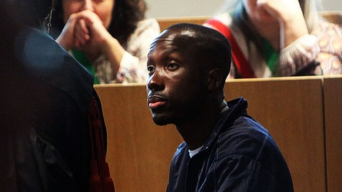 PERUGIA, ITALY - JUNE 27: Rudy Guede testifies during the appeal hearing of Amanda Knox over the guilty verdict in the murder of Meredith Kercher in Perugia's court of Appeal   on June 27, 2011 in Perugia, Italy.  American Amanda Knox and her Italian ex-boyfriend Raffaele Sollecito were convicted of the murder of Ms Knox's former British flatmate Meredith Kercher in 2007. Their trial took place in December 2009 with Knox and Sollecito receiving sentences of 26 and 25 years respectively. Rudy Guede, an unemployed man from Ivory Coast, was also convicted of the Meredith Kercher's murder.  (Photo by Franco Origlia/Getty Images)