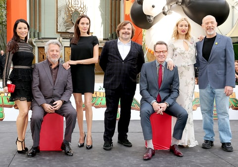 Lucy Liu, Dustin Hoffman, Angelina Jolie, Jack Black, Bryan Cranston, Kate Hudson and J.K. Simmons attend the premiere of DreamWorks Animation and Twentieth Century Fox's