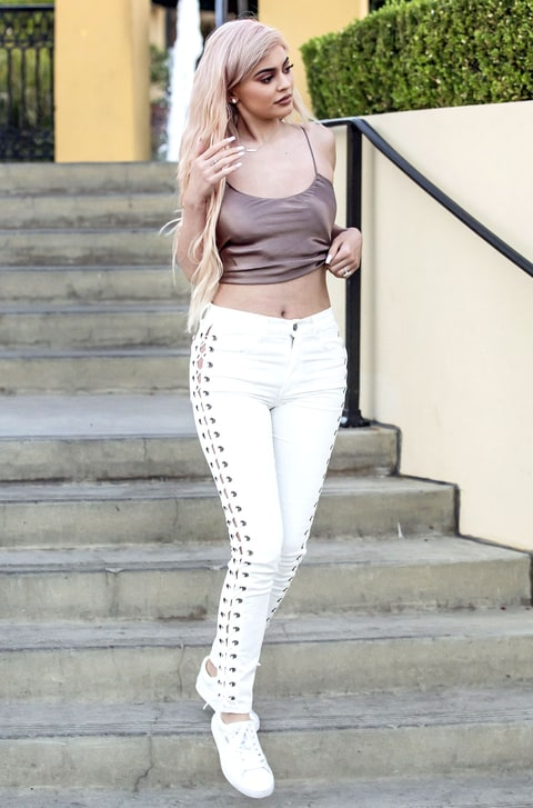 Kylie Jenner Wears Lace Up Jeans Street Style Pic Us Weekly