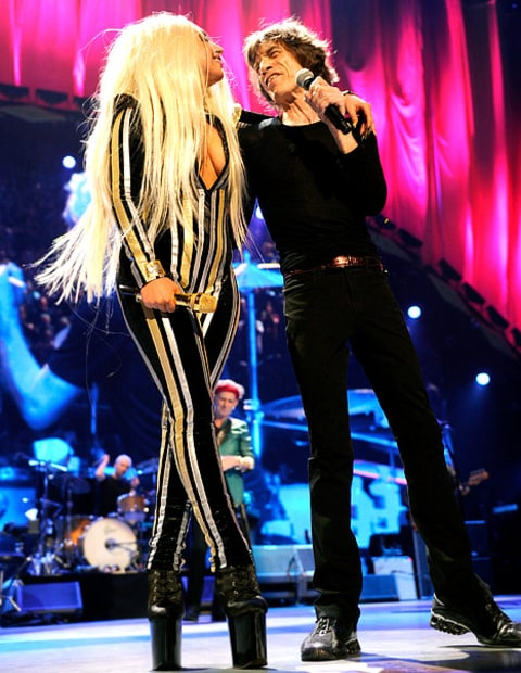 Gaga performing with stones