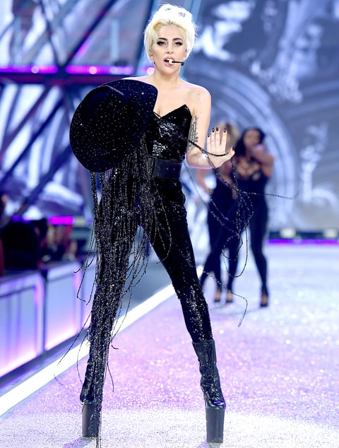 Lady Gaga sings the runway during the 2016 Victoria's Secret Fashion Show on November 30, 2016 in Paris, France.
