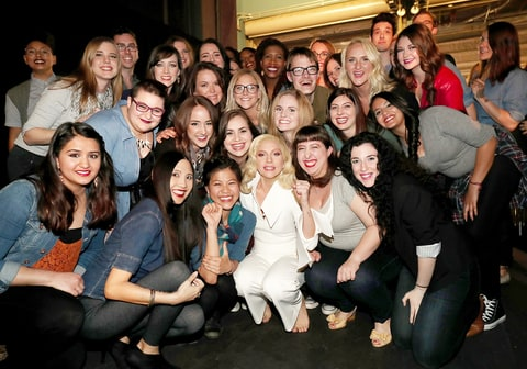 Lady Gaga with sexual assault survivors at Oscars 2016