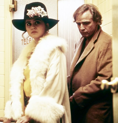 American actor Marlon Brando (1924 - 2004), as Paul, and French actress Maria Schneider (1952 - 2011) as Jeanne, in 'Last Tango In Paris', directed by Bernardo Bertolucci, 1972.