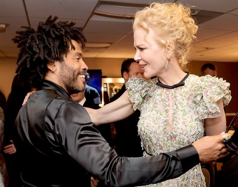 Lenny Kravitz and Nicole Kidman pose in the green room during the Hollywood Film Awards on November 6, 2016 in West Hollywood, California.