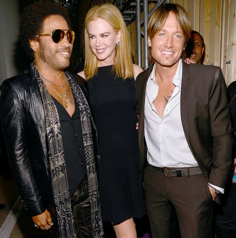 Lenny Kravitz, Nicole Kidman, and Keith Urban attend the 2013 CMT Music awards at the Bridgestone Arena on June 5, 2013 in Nashville, Tennessee.