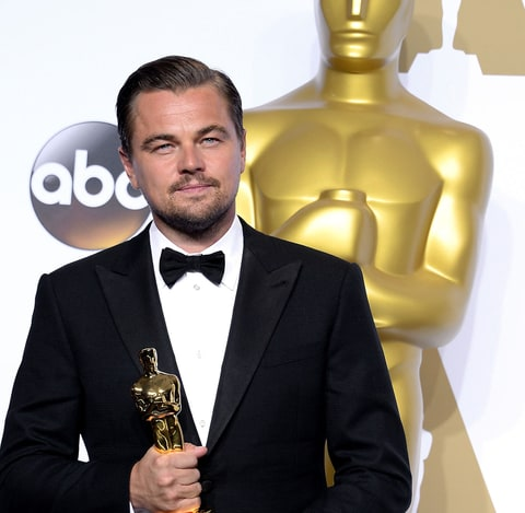 Leonardo DiCaprio poses in the press room backstage at the Oscars 2016 in Los Angeles