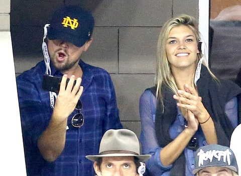Leonardo DiCaprio and Kelly Rohrbach  attend the Men's Final on day 14 of the 2015 US Open at USTA Billie Jean King National Tennis Center on September 13, 2015.