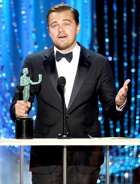 Leonardo DiCaprio accepts the Male Actor in a Leading Role award for 'The Revenant.'