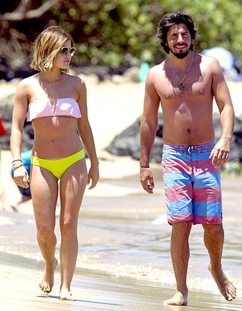 Lucy Hale Rocks Neon Bikini Debuts Boyfriend While Splashing In Ocean Us Weekly