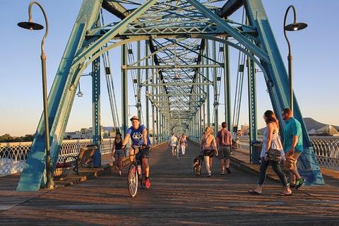 Commuters on the Walnut Street Bridge.