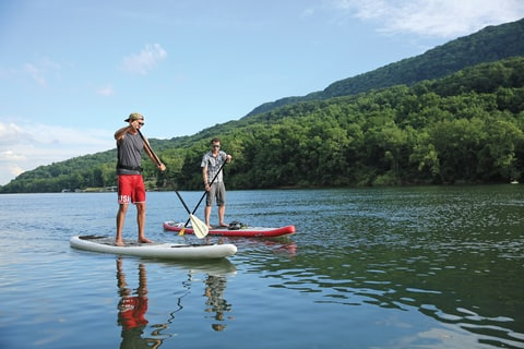 Standup paddleboarding on the Tennessee River's 50-mile-long Blueway.