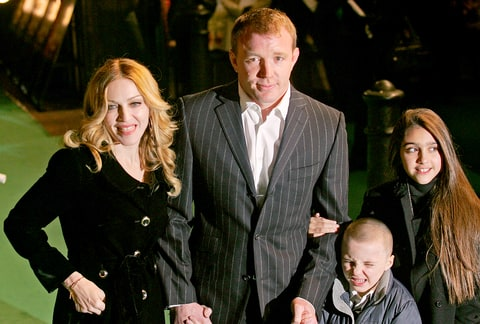 Madonna, Guy Ritchie and children, Rocco and Lourdes arrive at the British Premiere of animated film