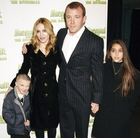Madonna and Guy Ritchie with children Lourdes Leon and Rocco Ritchie in 2007