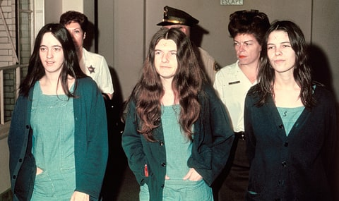 Manson family members and murder suspects Susan Atkins, Patricia Krenwinkle, and Leslie van Houton in 1970.