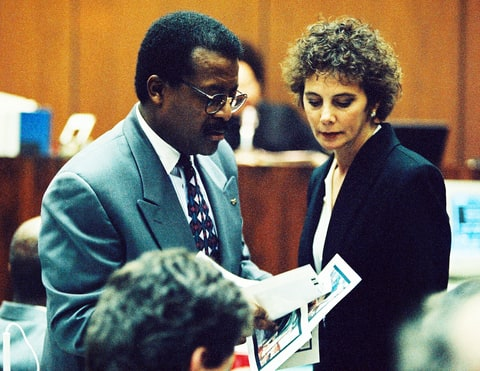 Johnnie Cochran and Marcia Clark