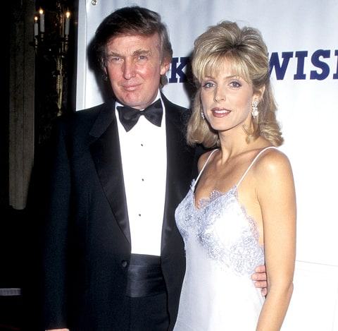 Donald Trump and Marla Maples during Dinner Dance Benefit for The Make A Wish Foundation at Plaza Hotel in New York City, New York in 1995.