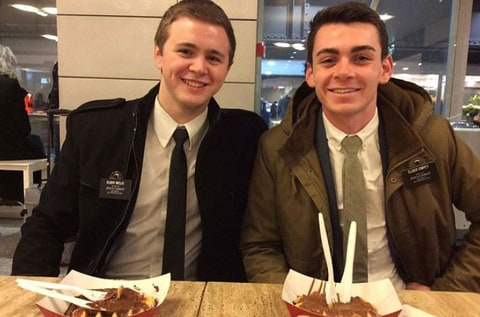Mason Wells (L) and friend Joseph Empey were injured in the Brussels airport attack