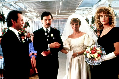 Billy Crystal, Bruno Kirby, Carrie Fisher and Meg Ryan When Harry Met Sally.