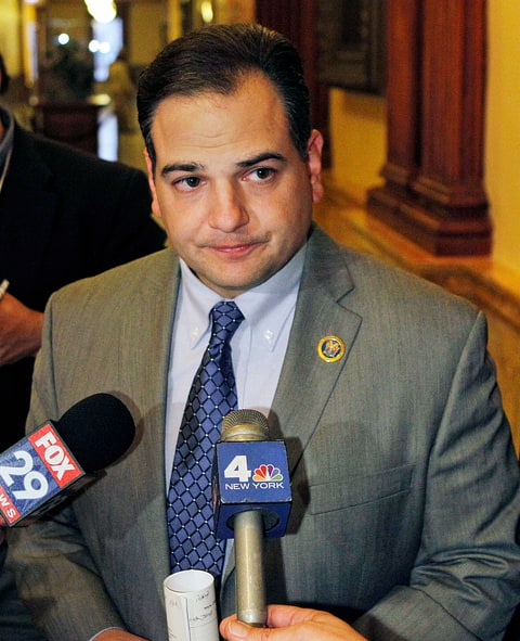 New Jersey Sen. Nicholas P. Scutari, D-Linden, N.J., listens to a question after state senators voted Monday, Dec. 13, 2010, in Trenton, N.J., to force Gov. Chris Christie's administration to rewrite proposed regulations for medical† marijuana. By a 22-16 margin, senators sided Monday with activists who say the regulations are so restrictive that patients who can benefit from marijuana may continue to get it from illegal dealers. (AP Photo/Mel Evans)