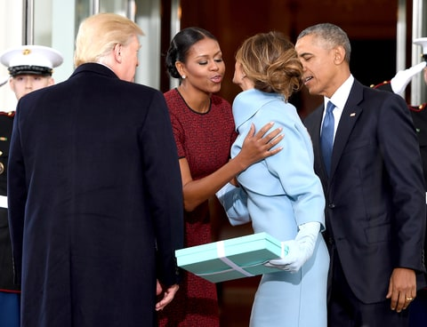 Donald Trump and his wife Melania Trump are greeted by Barack Obama and Michelle Obama, upon arriving at the White House on January 20, 2017 in Washington, DC.