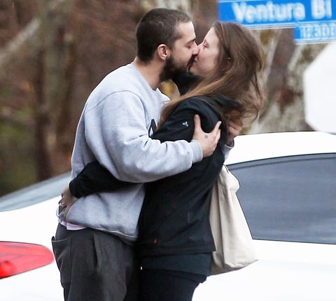 Shia LaBeouf and Mia Goth kissing
