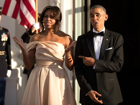 Michelle Obama Wears One-Shouldered Gown: Video - Us Weekly