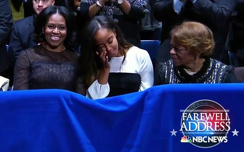 Michelle Obama Malia Obama Farewell Speech crying