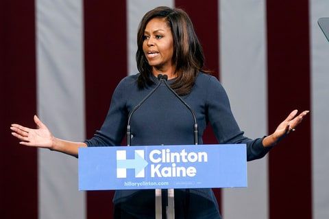 First Lady Michelle Obama speaks during a campaign rally in support of Democratic presidential nominee Hillary Clinton at Southern New Hampshire University in Manchester on Oct. 13, 2016.