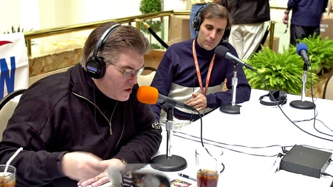 UNITED STATES - JANUARY 26:  Sports radio hosts Mike Francesa (left) and Chris (Mad Dog) Russo broadcast their show from the Hyatt Hotel in Tampa.The New York Giants and Baltimore Ravens will face off in Super Bowl XXXV on Sunday.,