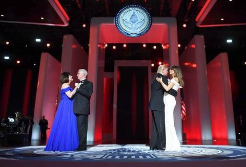 US President Donald Trump and the first lady Melania Trump dance with Vice Presidant Mike Pence and Karen at the Liberty Ball at the Washington DC Convention Center following Donald Trump's inauguration as the 45th President of the United States, in Washington, DC, on January 20, 2017.