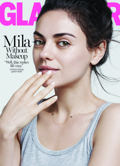 mila kunis goes without makeup for glamour i dont