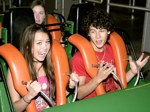 Miley Cyrus and Nick Jonas at Six Flags Magic Mountain in 2007.
