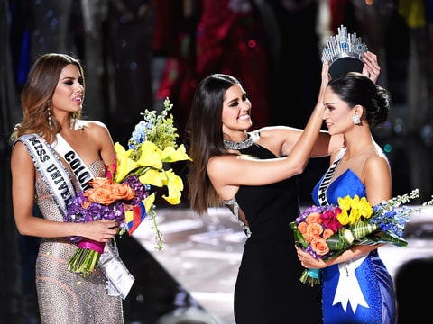 Miss Colombia 2015, Ariadna Gutierrez Arevalo, looks on as Miss Universe 2014 Paulina Vega crowns Miss Philippines 2015, Pia Alonzo Wurtzbach, the new Miss Universe during the 2015 Miss Universe Pageant at The Axis at Planet Hollywood Resort & Casino on December 20, 2015 in Las Vegas, Nevada.