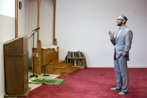 Imam Hassan Selim stands for a portrait after Friday prayers at the Islamic Center of Cedar Rapids in Cedar Rapids, Iowa on Friday, January 20, 2017.