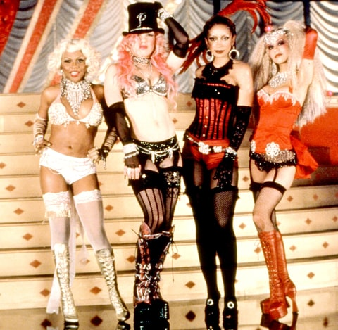 Lil' Kim, Pink, Mya and Christina Aguilera in 2001's Moulin Rouge.