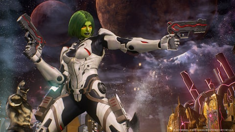 Gamora sports a look straight out of Guardians of the Galaxy comics from 2013-2015.