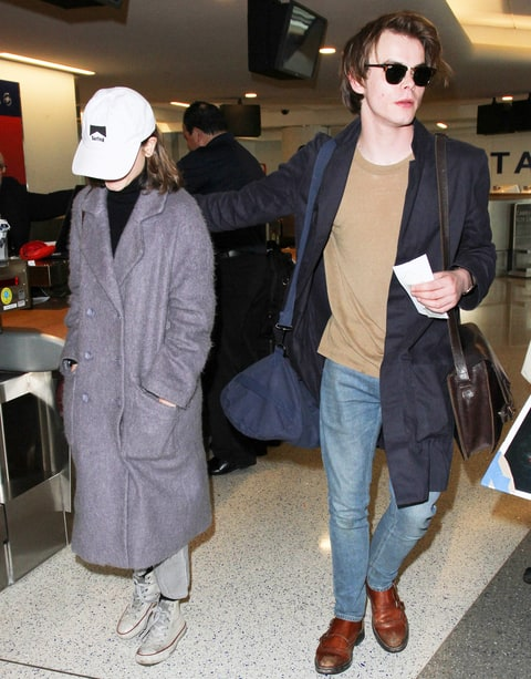Natalia Dyer and Charlie Heaton are seen at LAX on January 09, 2017 in Los Angeles, California.